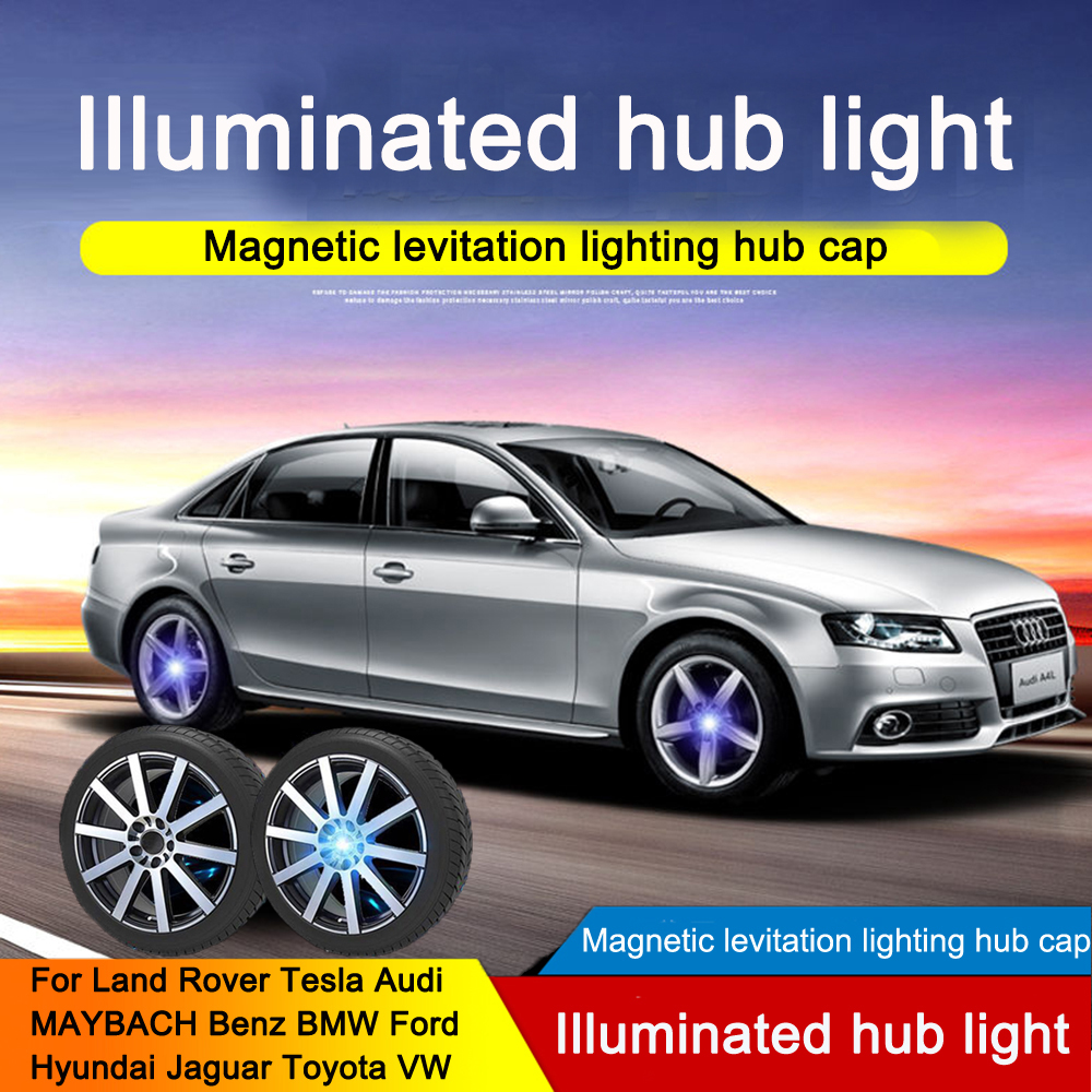 Hub Light 4X Car Wheel Caps Light Floating Illumination LED Light Center Cover Lighting Cap Auto