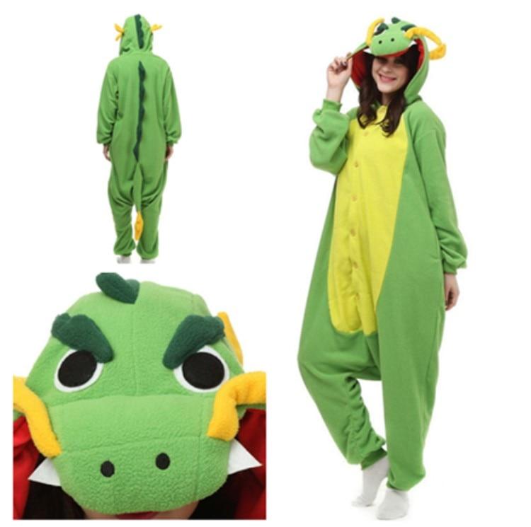 Adults Polar Fleece Kigurumi China Dragon Costume Cartoon Animal Onesie Pajamas Halloween Carnival Masquerade Party Jumpsuit