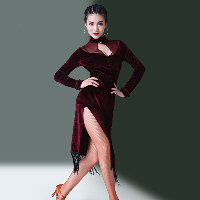 Latin Dance Dress Red Wine Long Sleeve Velvet Tassel Women Salsa Cha Dancing Clothes Ladies Competition Performance Wear DN2892