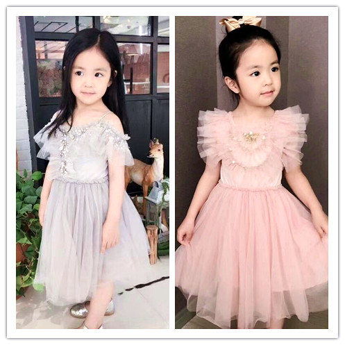 2018 SUMMER children clothing girls lace tutu  dresses for girls vestidos lucky child girls dress baby clothes family clothing