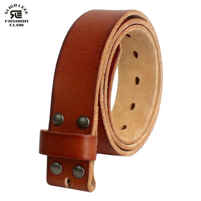 comprar 2019 profesional 100% de garantía de satisfacción € 22.95  Cinturón SLiGOLEEE para hombre sin hebilla cinturones de cuero de  una pieza de grano completo para hombre jeans Vintage italianos cinturón ...