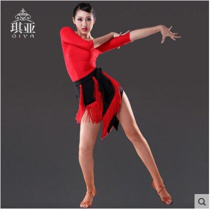 Sexy strapce Latinské taneční šaty Ženy Červená taneční sukně samba tanzrock pozdní taneční kostýmy pro ženy roucho de danse latine femme