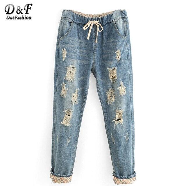 Dotfashion летние женские брюки свободного покроя новое поступление моде джинсовые брюки разорвал середины пояс шнурок талии бойфренд широкий джинсы