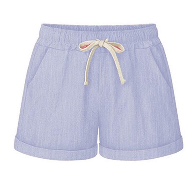 New Arrival Summer Women Wide Leg Shorts Cotton High Waist Drawstring Pockets Girl Casual Shorts Plus Size M-6XL