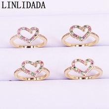 8Pcs Fashion micro pave cz rainbow heart ring trendy new design colorful finger rings
