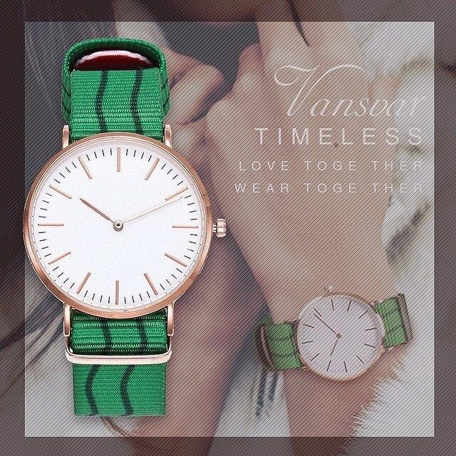 Vansvar Women Men Classical Nylon Arabic Numbers Quartz Wrist Watches Fashion Ca