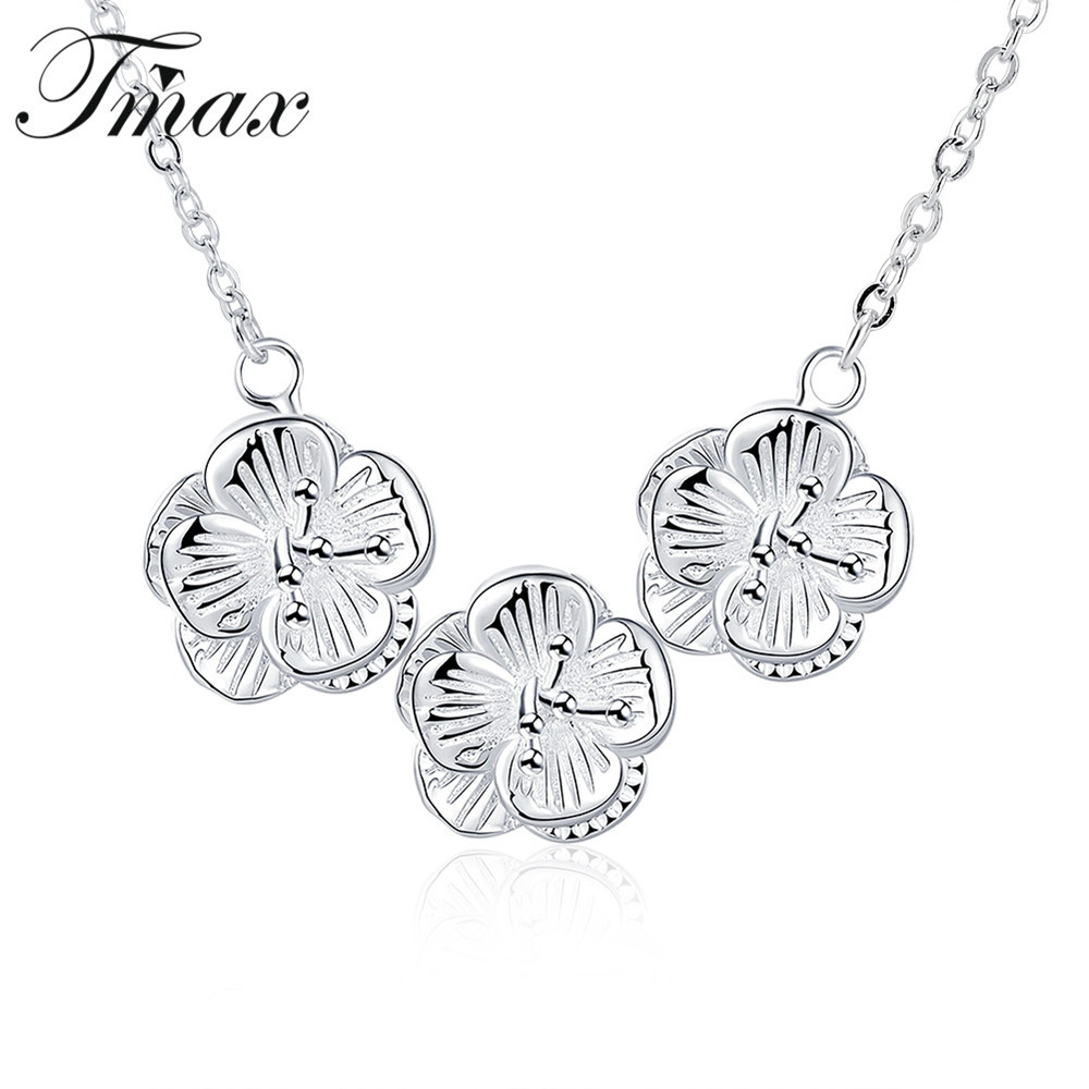 New Design Silver Plated Zircon Pendant Statement Three Flower Necklace Romantic Style Jewelry Accessories For Women
