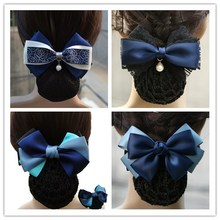Ribbon Bow Gift Handmade DIY Gift With Ribbon Hair Net Cover Satin Bow Barrette Lady Hair Clip Cover (2pcs/lot