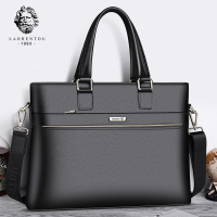 Laorentou Men Crossbody Bags Briefcase Cow Leather Totes Shoulder Bag Work Handbag Bags Brand High Capacity Business Bag 5