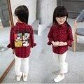 Primavera Outono Inverno Verificado Camisa de Malha Camisa Xadrez Camisa Ano Novo Unisex Baby Girl Roupas de Bebê Menino Roupas de Manga Longa