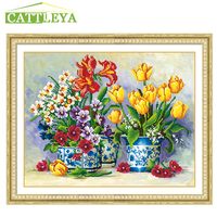 CATTLEYA Special Shaped Mosaic 5d Diamond Embroidery Flowers Landscape Vase Diamond Cross Stitch Round Diamond Decor