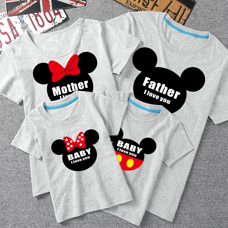 T Shirt Mickey Mouse Family Clothing Mom And Daughter Matching Clothes Short Sleeve Mama E Hija Ropa Father Mothier Son Outfits