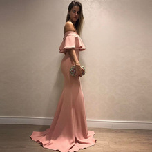 f975ad5e97 Modis Sexy One-Word Collar Ruffled Sleeves Pink Tube Top Fishtail Dress For  Women Long