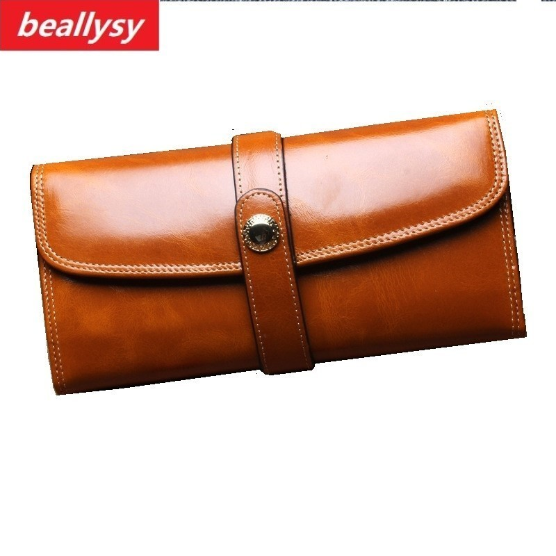 Genuine Leather Women Wallet Female Long Clutch Lady Walet Portomonee Rfid Luxury Brand Money Bag Magic Zipper Coin Purse