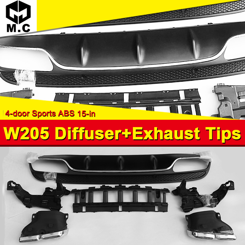 W205 Diffuser Exhaust Tips Fit For Benz W205 Sport 4 door ABS Rear Bumper Diffuser Lip 4 Outlet Exhaust Endpipe C180 C200 2015 in Body Kits from Automobiles Motorcycles