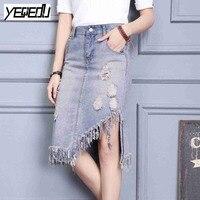 #0921 2017 Summer Women retro skirt Fashion Sexy Denim skirt Tassel jeans skirt Vintage Asymmetrical skirt England Style