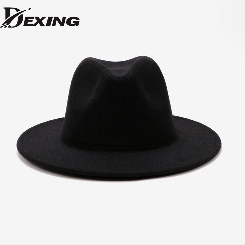 79741b60f90 2018 New Style Soft Women Vintage Wide Brim Wool Felt Bowler Fedora Hat  Floppy Cloche Womens Men ...