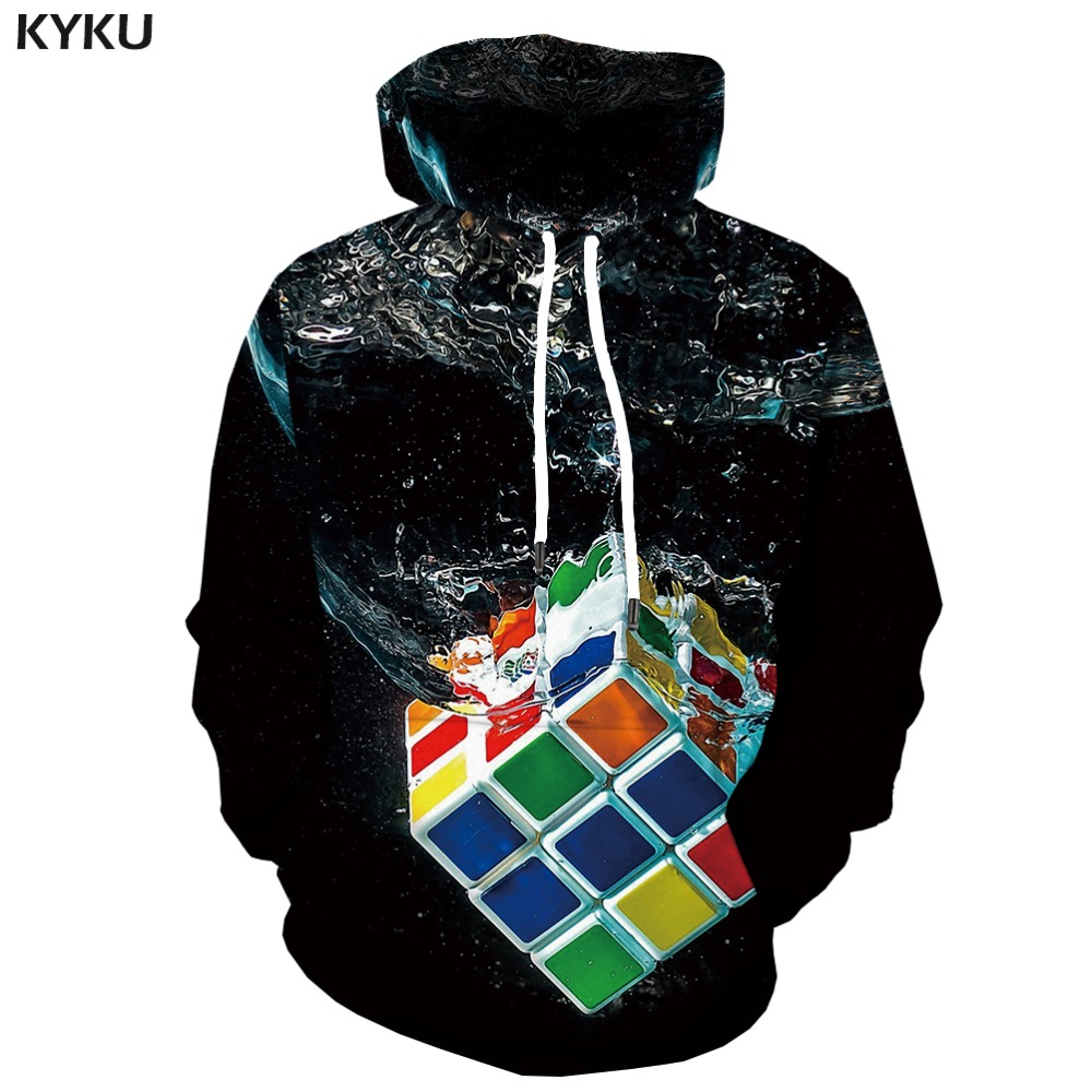 Rational Kyku 3d Hoodies Rubiks Cube Sweatshirts Men Squared Hoodes 3d Geometric Hoody Anime Black Hoodie Print Water Hooded Casual Men's Clothing