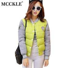 MCCKLE 2017 Autumn Women Baseball Jacket Patchwork Outwear Winter Thick Warm Parkas Jaquetas Ladies Casual Tops Casaco Feminino