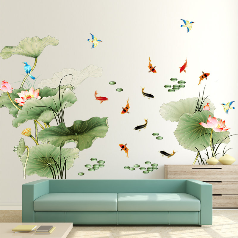 Large 97*225cm Chinese Style Lotus Flower Living Room ... on Room Decor Stickers id=96413
