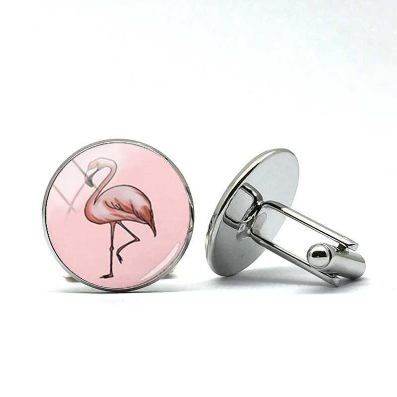 Chegada nova Vidro Vermelho Rosa Flamingo Camisa Manguito Abotoaduras Abotoaduras Black White Stripe Animal Da Foto do Pássaro Artesanal