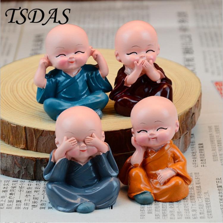 4 개 / 대 없음 듣고 없음 듣고 없음 말하기 불교 소림 스님 수지 인형 자동차 장식품