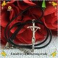 Frete grátis banhado a prata liga de metal católica rosário crucifixo cruz, religiosos rosário colar com pingente de cabo de cera