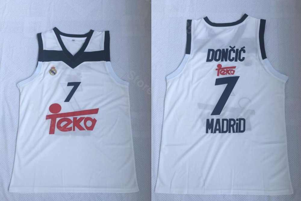 Ediwallen Euroleague Europe 7 Luka Doncic Jersey Men White Real Madrid Basketball  Jerseys All Stitched Breathable c1be84270
