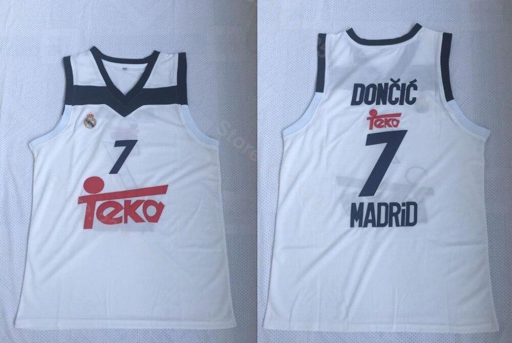 5c1ca1767 Ediwallen Euroliga Europa 7 Luka Doncic Jersey hombre Jersey blanco el Real  Madrid baloncesto Jerseys todos