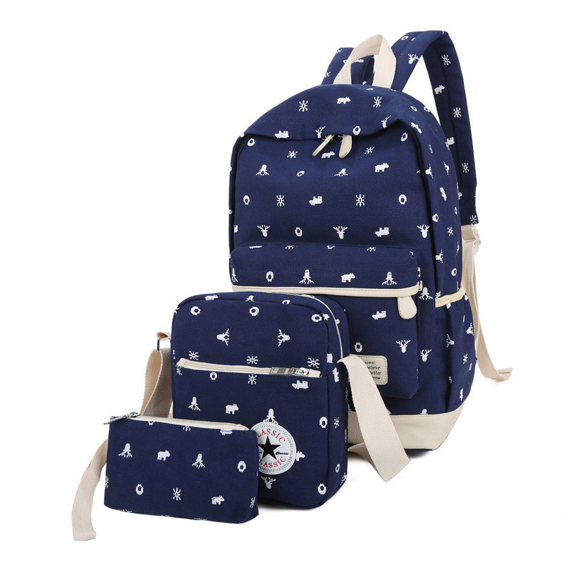 New Preppy Style 3 pcs set Women Printing Canvas Backpacks High Quality School Bags for Girls