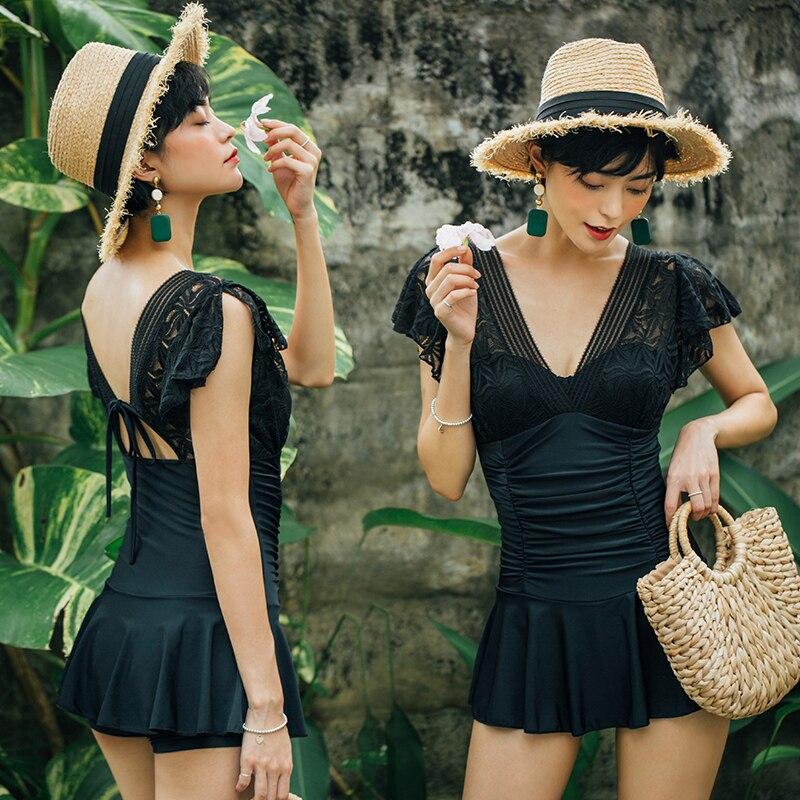 New 2018 Sexy Black Lace One Piece Swimsuit Female Bandage Bodysuit Plus Size Swimwear Women Dress One Piece Bathing Suit ruby rox new black lace bandage dress l $59 dbfl