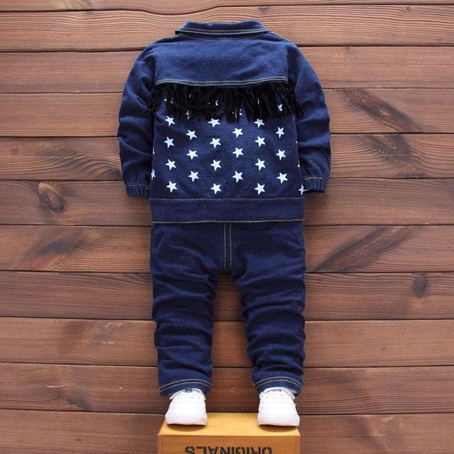 Noworodka Denim pojedyncze piersi 3 sztuk/zestaw (płaszcz + t shirt + dżinsy) bebes Baby boy noworodka ubrania dla dzieci pełna rękaw baby boy ubrania