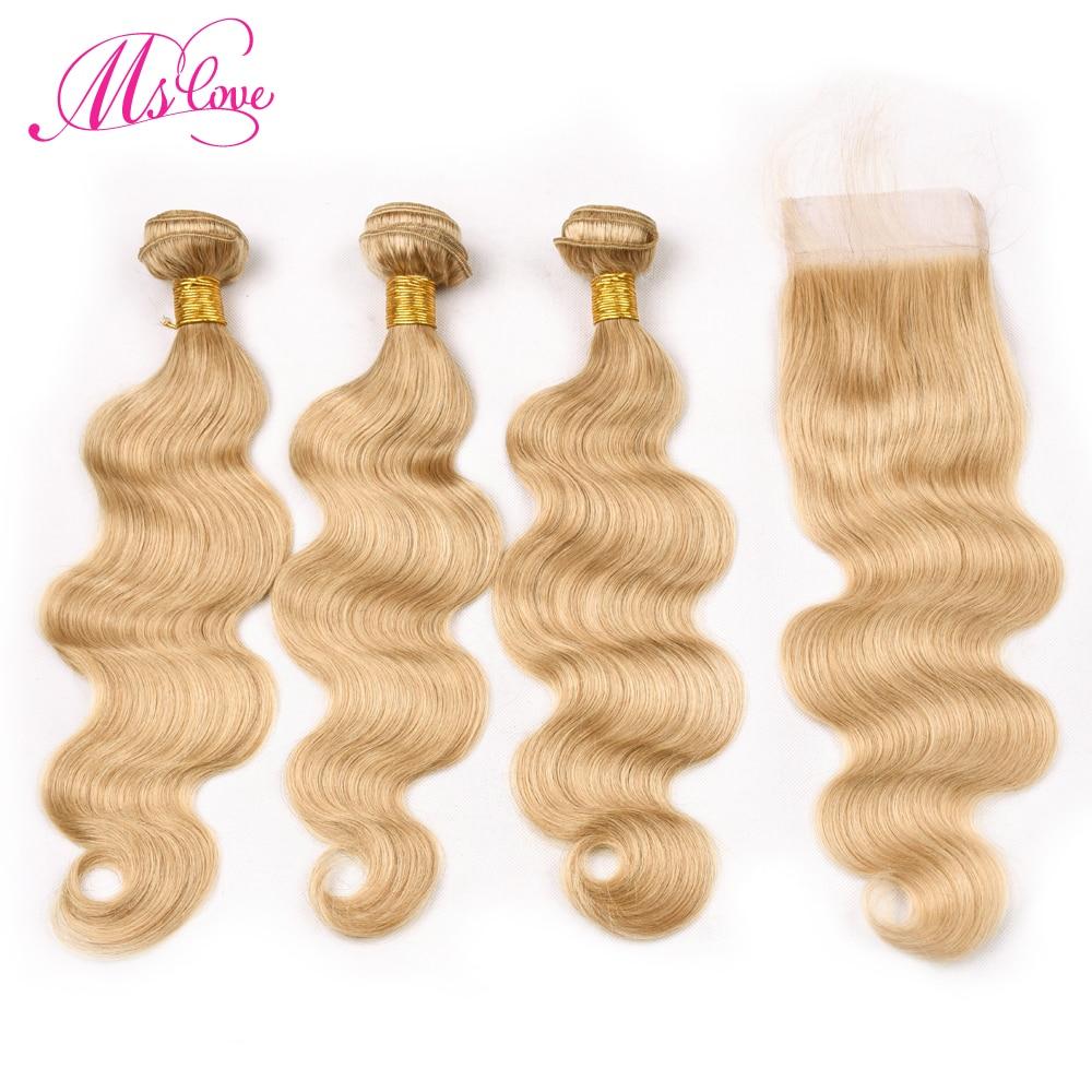 MS любовь предварительно Цветной #27 Блондинка Связки с закрытием Бразильский прямые волосы Связки с закрытием человеческих волос с застежка