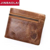 100% Genuine Leather Men Wallet Small Zipper Men Walet Portomonee Male Short Coin Purse Brand Perse Carteira Card Holder for men