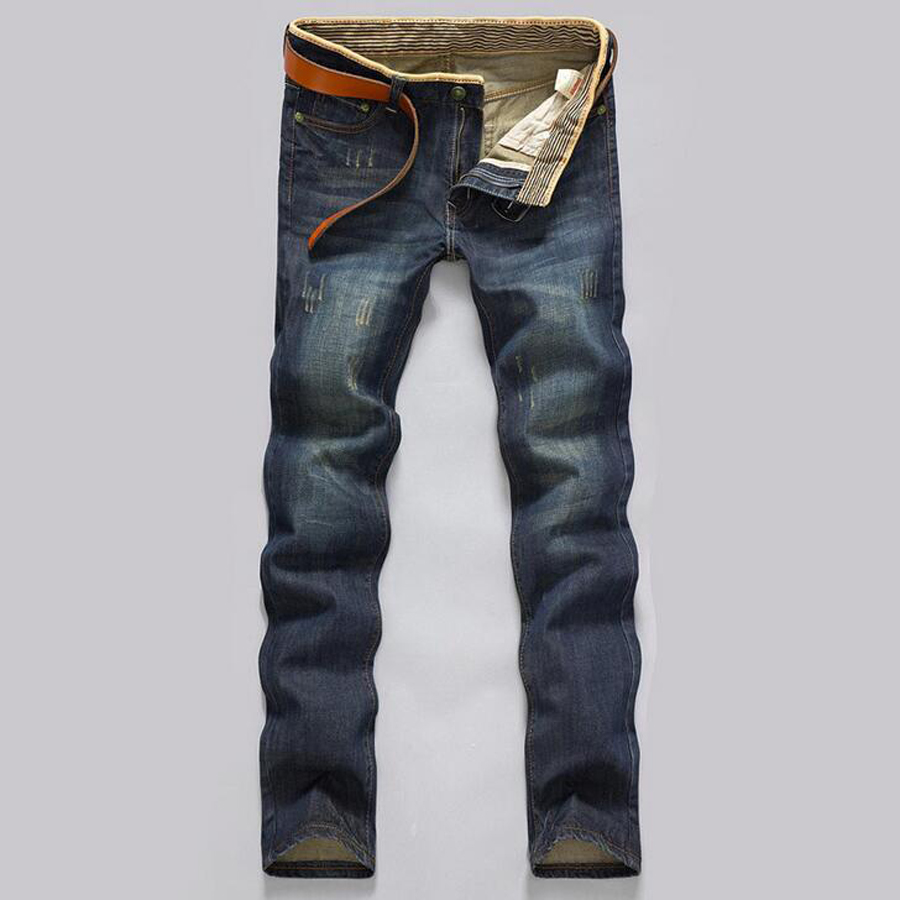 High quantity Men spring autumn Causual Pockets all match Modern Straight Fell length Brand Slim Solid Popular Tops Jeans