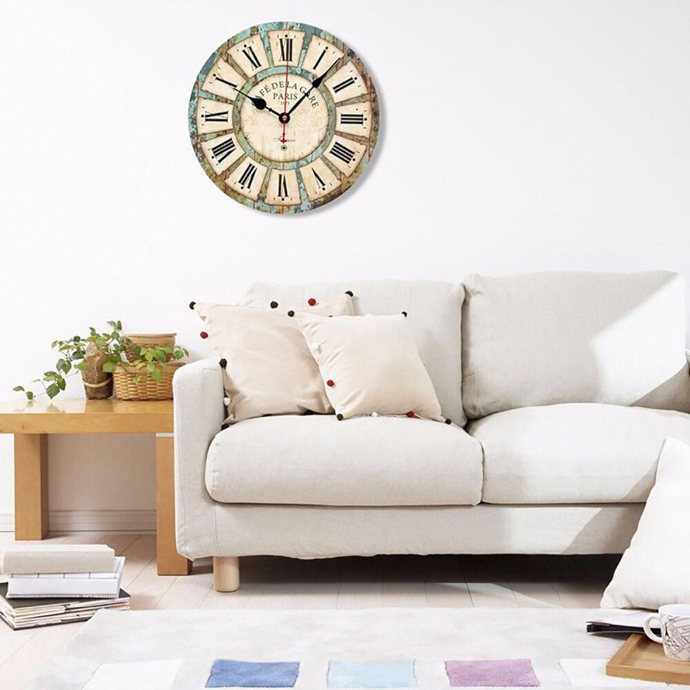 Vintage Round Wood Wall Clock European Style Noiseless Quartz ...