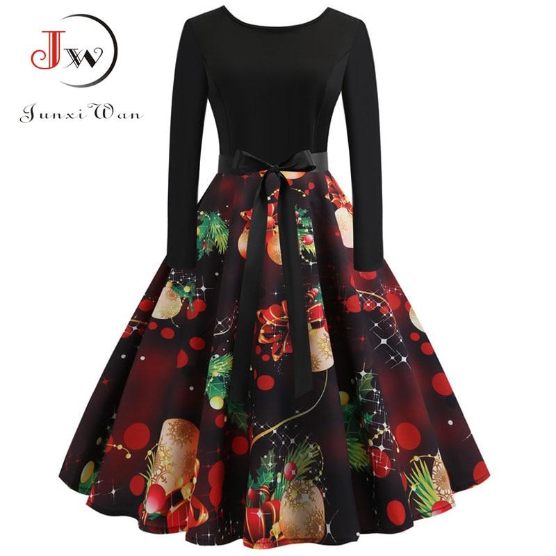 Christmas Dress Vestidos  Women Elegant Vintage Dress Long Sleeve Winter Party Dresses Casual Print Retro Rockabilly Swing