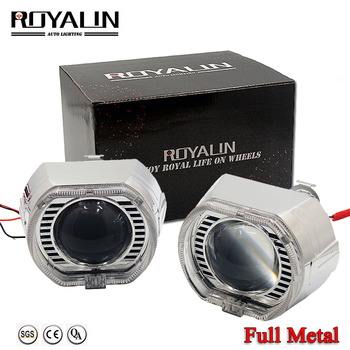 ROYALIN Car For BMW Headlights LED H1 Bixenon Angel Eyes Halo Rings Projector H4 H7 Full Metal Universal Motorcycle Lights Lens