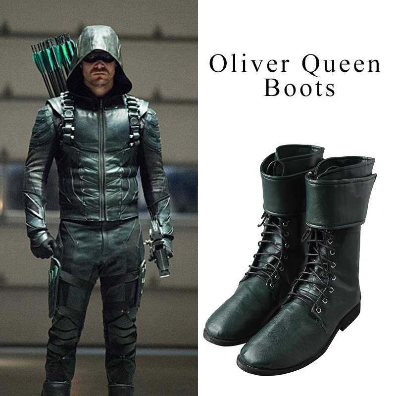 Green Arrow Cosplay Boots Oliver Queen Cosplay Shoes Men ...