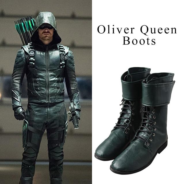 Queen Cosplay Stivali Green Da Oliver Di Scarpe Arrow Uomo wHqIB5x6