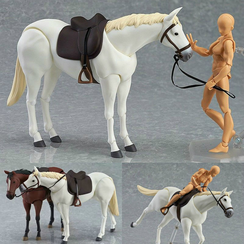 1//12 6/'/' figma 246a Chestnut Brown Horse PVC Animal Scene Doll Figures Gifts Toy