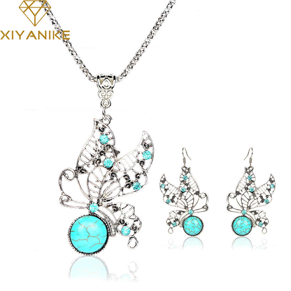 New Fashion Vintage Tone Animal Butterfly Jewelry Sets  Earrings Necklace Fashion Jewelry Women Accessories E919N420
