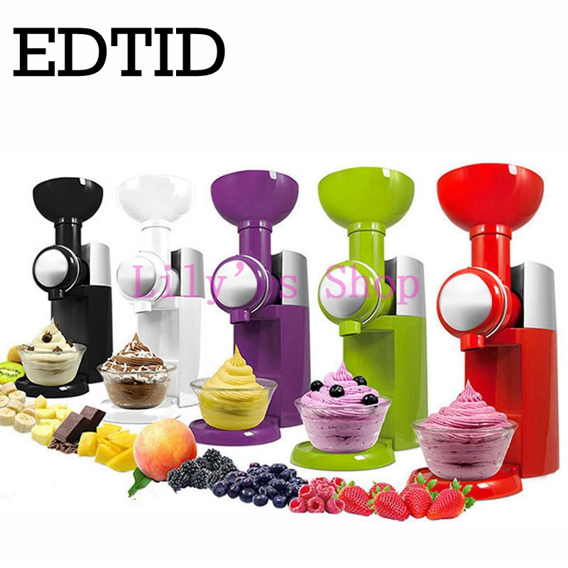 MINI DIY fruit automatic ice cream machine electric soft icecream maker household Frozen Fruit Dessert Maker milkshake 110V 220V edtid portable automatic ice maker household bullet round ice make machine for family small bar coffee shop 220 240v 120w eu us