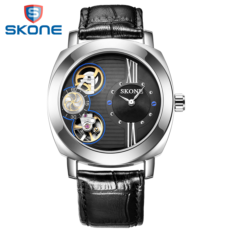 SKONE Automatic Watches Men Luxury Waterproof Genuine Leather Strap Casual Mechanical Watch Skeleton Men Watch Relogio Masculino skone relogio 9385
