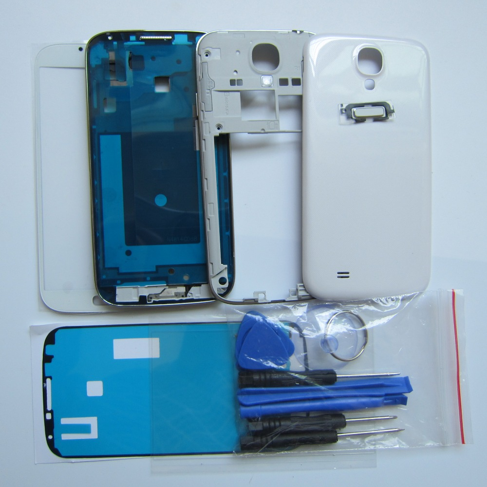 Volle Gehäuse Set Für Samsung Galaxy S4 i9505 Front Fall + Mittleren Rahmen + Zurück fall abdeckung + Äußere glas + kleber + OCA kleber + werkzeuge