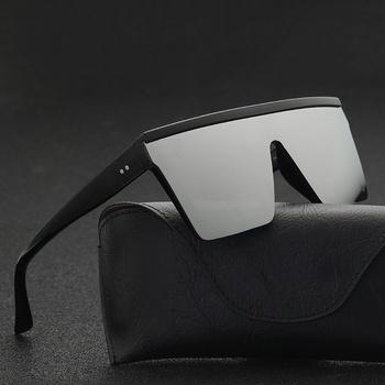 Męskie ścięte u góry okulary przeciwsłoneczne męskie marki czarne kwadratowe odcienie UV400 gradientowe okulary przeciwsłoneczne dla mężczyzn fajne One Piece Designer tanie i dobre opinie MOONBIFFY Okład Dla dorosłych Z tworzywa sztucznego Lustro 54 mm Poliwęglan 3022 60 mm