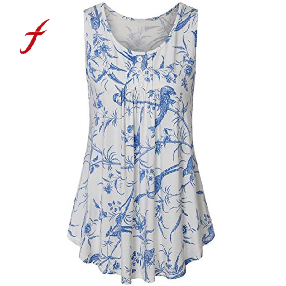 2018 summer new Harajuku wome Elegant Breathable Elasticity Hipster Ladies T-shirt Sleeveless Flower Printing Vest Tops Shirt