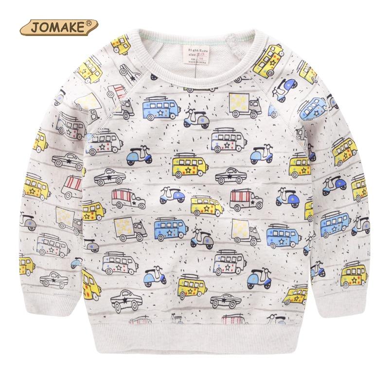 JOMAKE Baby Boys T-shirts 2018 Autumn Kids Clothes Cartoon Car Print Long Sleeve Infantil Boy Sweatshirts Pullover Children Tops
