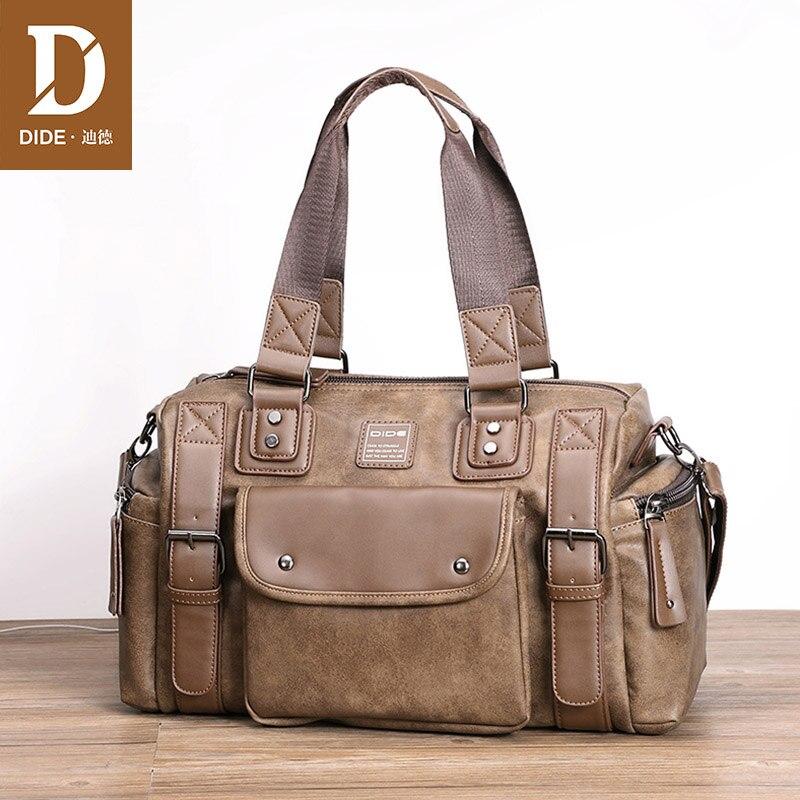DIDE Messenger Bag Male Leather Crossbody Bags For Men Designer Handbags Tote Large Capacity Business Travel