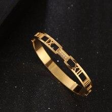 Модные ювелирные изделия, нержавеющая сталь, для мужчин и женщин, любовь, браслеты, римская цифра, Браслет-манжета, ювелирные изделия